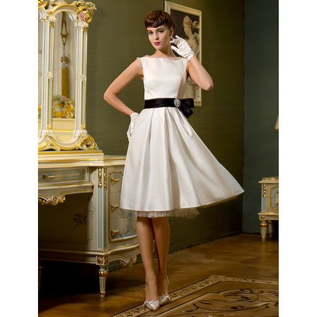 A-Line Bateau Neck Knee Length Satin Made-To-Measure Wedding Dresses with Bowknot / Sash / Ribbon