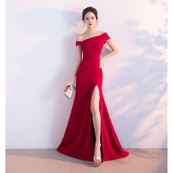 A-Line Off Shoulder Sweep / Brush Train Satin Formal Evening Dress with Split Front by LAN TING Express