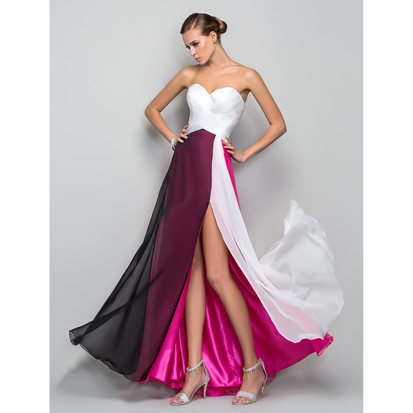 A-Line Sweetheart Neckline Floor Length Chiffon Color Block Prom / Formal Evening Dress with Criss Cross / Ruched by TS Couture®