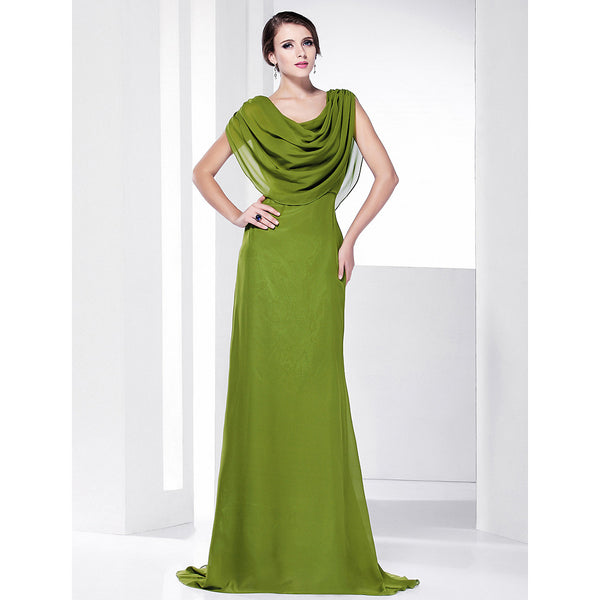 Sheath / Column Cowl Neck Sweep / Brush Train Chiffon Formal Evening Dress with Draping by TS Couture®
