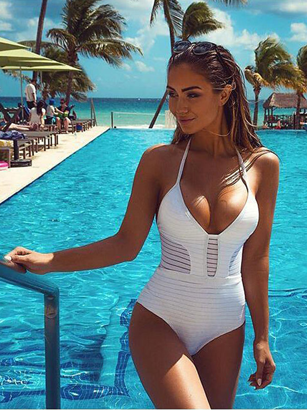 Women's Plunging Solid Sports Halter Neck White Black Red One-piece Swimwear - Patchwork M L XL White / Sexy
