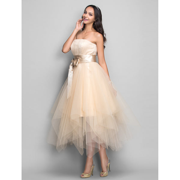 Ball Gown Strapless Tea Length Satin / Tulle Cocktail Party / Prom Dress with Bow(s) / Sash / Ribbon by TS Couture®