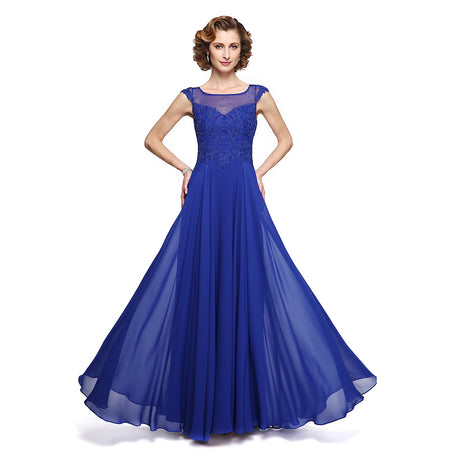 A-Line Jewel Neck Ankle Length Chiffon Lace Mother of the Bride Dress with Appliques