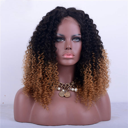 Remy Human Hair Glueless Lace Front Lace Front Wig style Brazilian Hair Kinky Curly Ombre Wig 180% Density with Baby Hair Ombre Hair Natural Hairline African American Wig 100% Hand Tied Ombre Women's