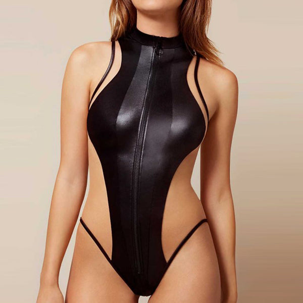 Women's Sporty Black Cheeky One-piece Swimwear - Solid Colored M L XL Black