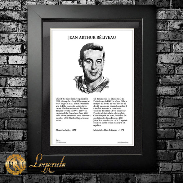1972 Jean Beliveau - Legends 12x16 Frame
