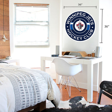 Winnipeg Jets 36x36 Team Stripe Logo Repositional Wall Decal