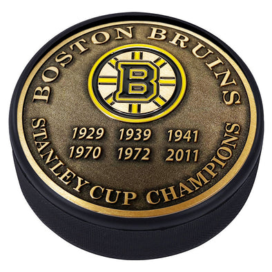 Medallion Puck - Boston Bruins Stanley Cup Years Gold