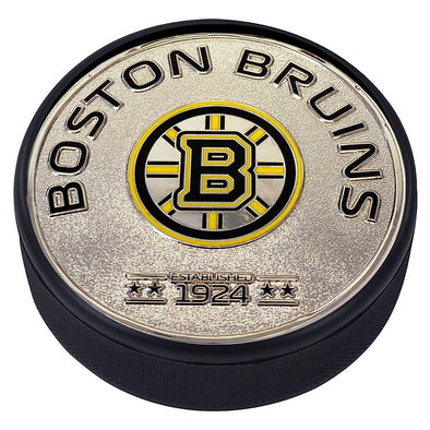 Medallion Puck - Boston Bruins Silver Established