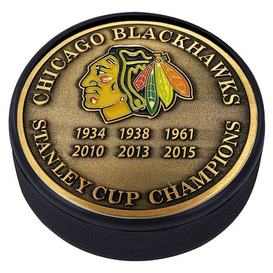 Medallion Puck - Chicago Blackhawks Stanley Cup Years Gold