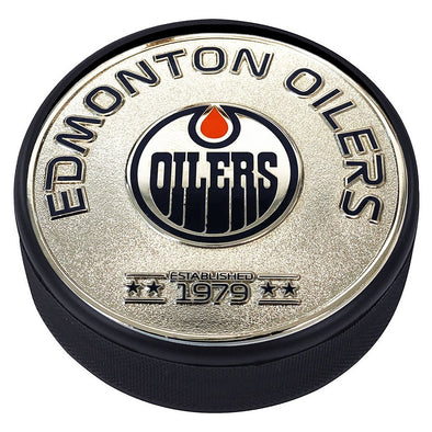Medallion Puck - Edmonton Oilers Silver Established