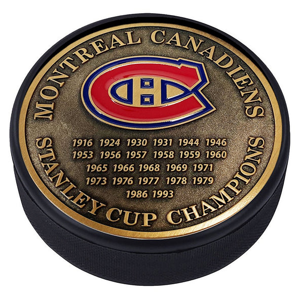 Medallion Puck - Montreal Canadiens Stanley Cup Years Gold