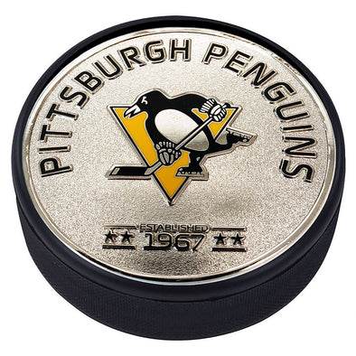 Medallion Puck - Pittsburgh Penguins Silver Established