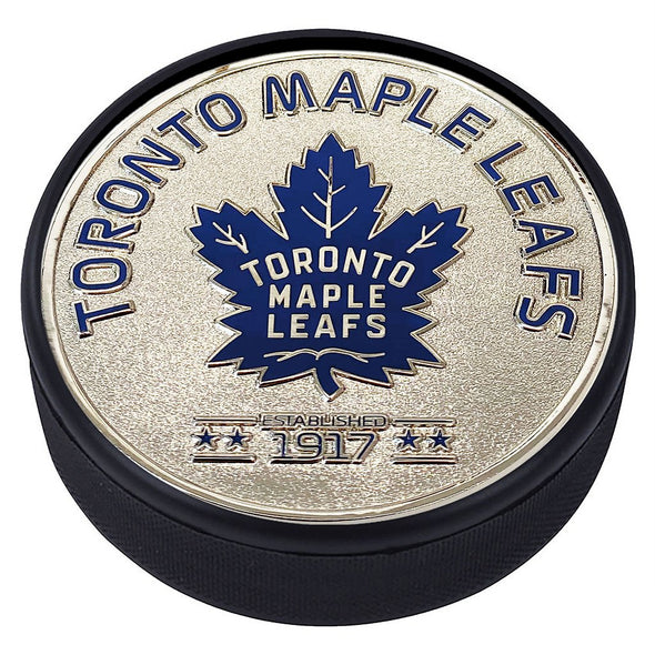 Medallion Puck - Toronto Maple Leafs Silver Established