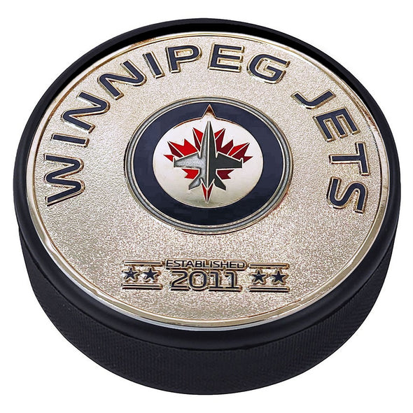 Medallion Puck - Winnipeg Jets Silver Established