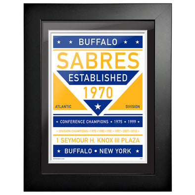 Buffalo Sabres 12 x 16 Dual Tone Framed Sign