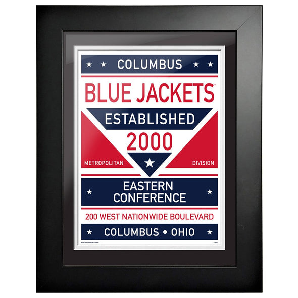 Columbus Blue Jackets 12 x 16 Dual Tone Framed Sign