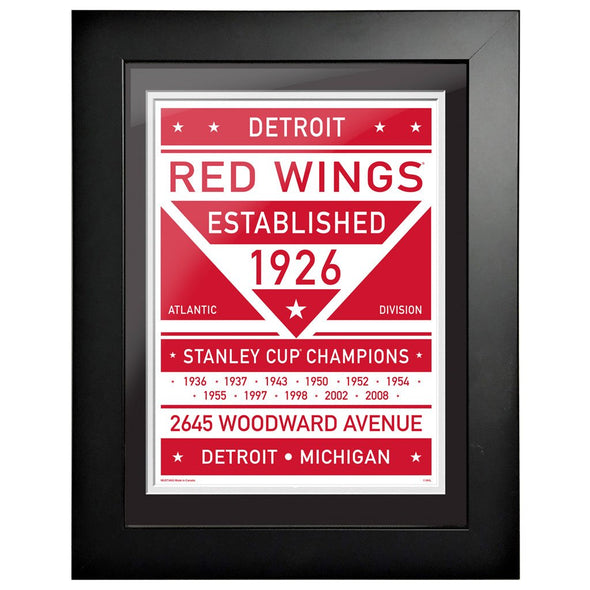 Detroit Red Wings 12 x 16 Dual Tone Framed Sign