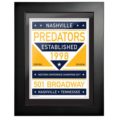 Nashville Predators 12 x 16 Dual Tone Framed Sign