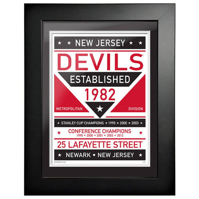 New Jersey Devils 12 x 16 Dual Tone Framed Sign