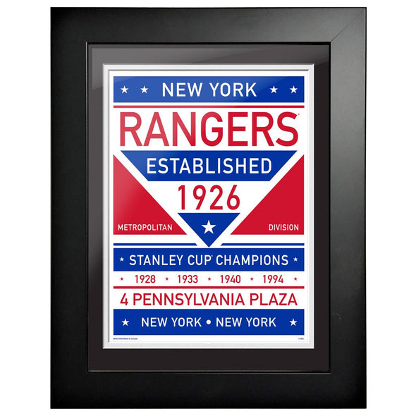 New York Rangers 12 x 16 Dual Tone Framed Sign