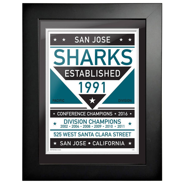 San Jose Sharks 12 x 16 Dual Tone Framed Sign