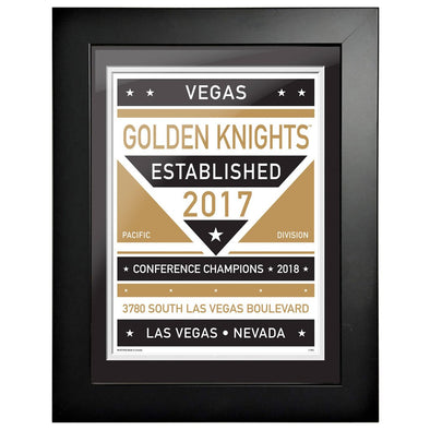 Vegas Golden Knights 12 x 16 Dual Tone Framed Sign