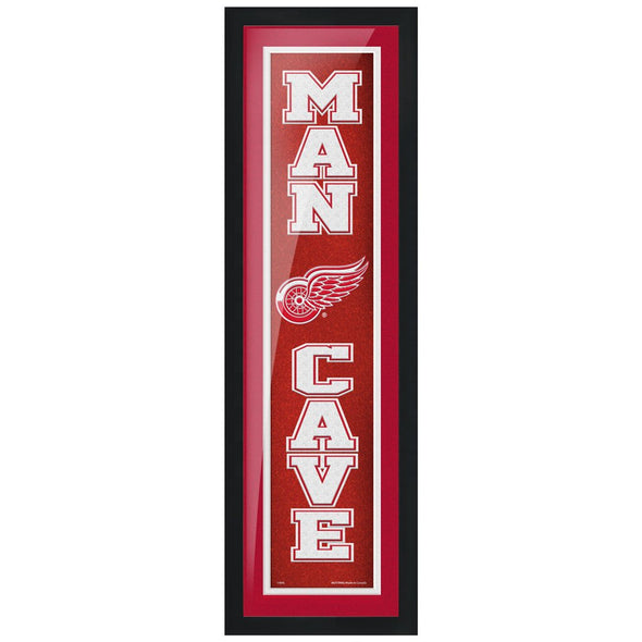 Detroit Red Wings 6x22 Man Cave Framed Sign