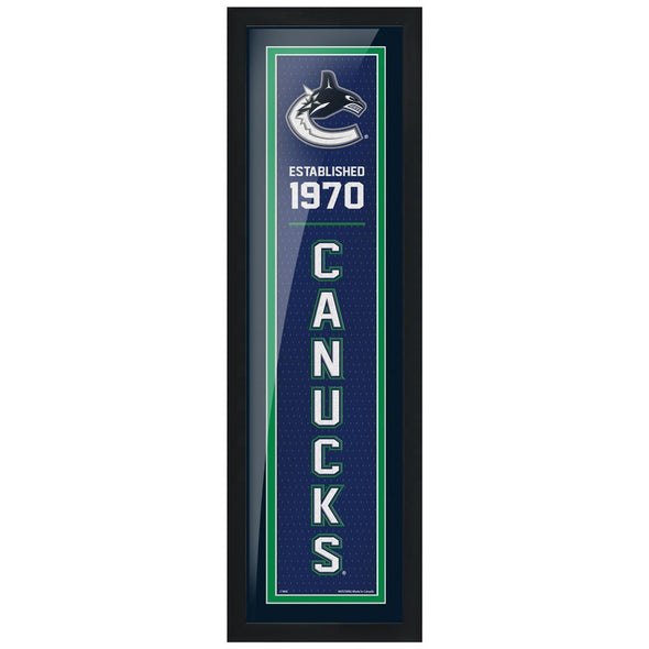 "Vancouver Canucks 6"" x 22"" Established Framed Sign"