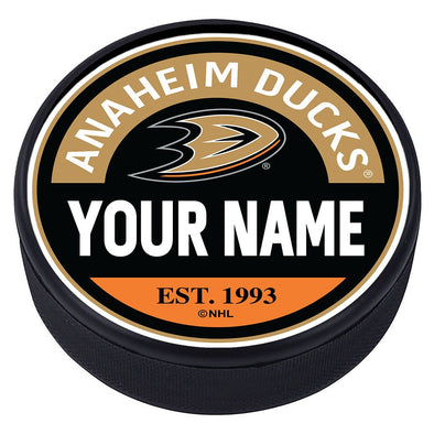 Ahaheim Ducks Block Textured Personalized Puck