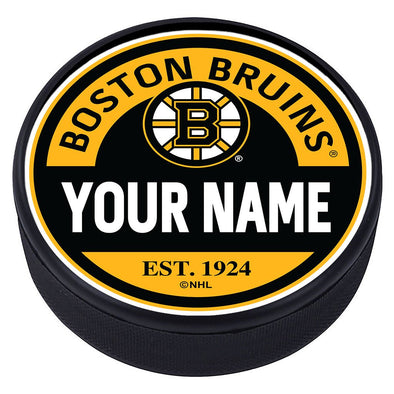 Boston Bruins Block Textured Personalized Puck