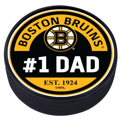 Boston Bruins #1 Dad Textured Puck