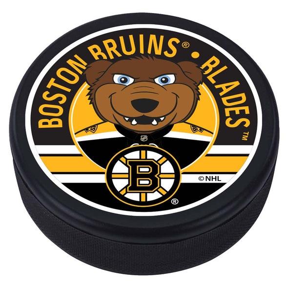 Boston Bruins Blades Mascot Textured Puck