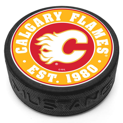 Calgary Flames Established Textured Puck