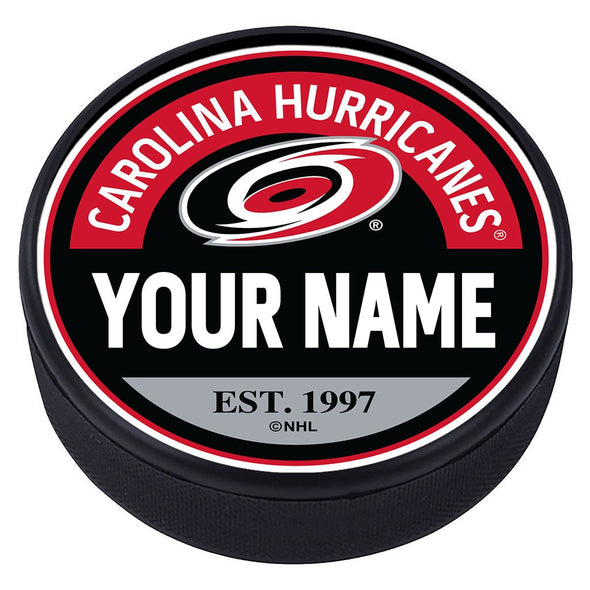 Carolina Hurricanes Block Textured Personalized Puck