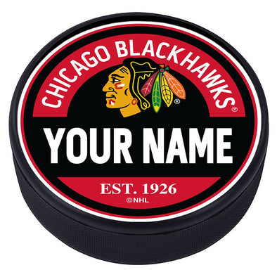 Chicago Blackhawks Block Textured  Puck