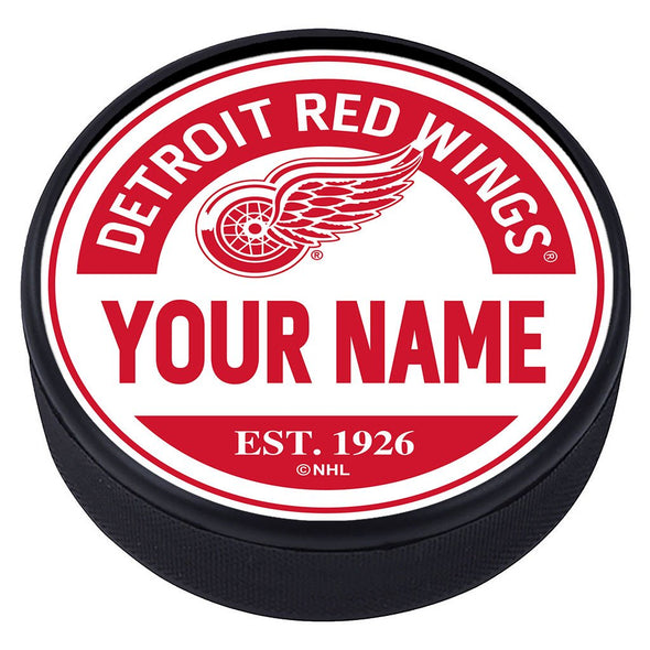 Detroit Red Wings Block Textured Personalized Puck