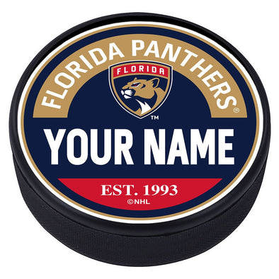 Florida Panthers Block Textured Personalized Puck
