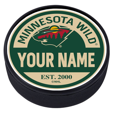 Minnesota Wild Block Textured Personalized Puck