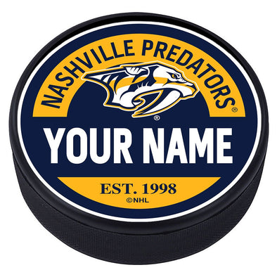 Nashville Predators Block Textured Personalized Puck