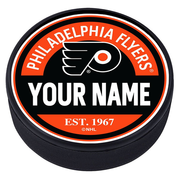 Philadelphia Flyers Block Textured Personalized Puck