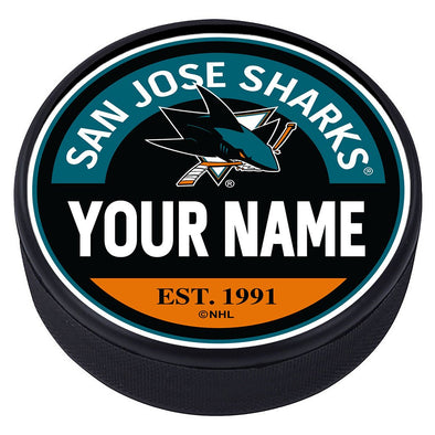 San Jose Sharks Block Textured Personalized Puck