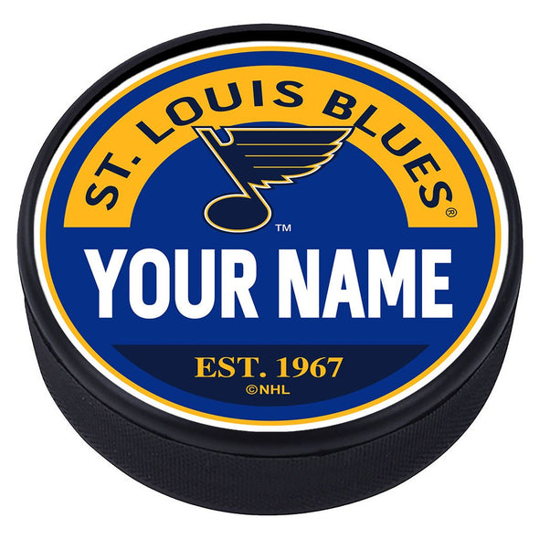 St. Louis Blues Block Textured Personalized Puck
