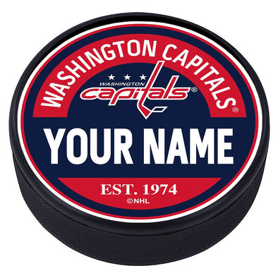 Washington Capitals  Block Textured Personalized Puck