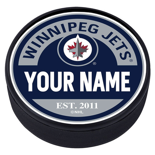 Winnipeg Jets Block Textured Personalized Puck