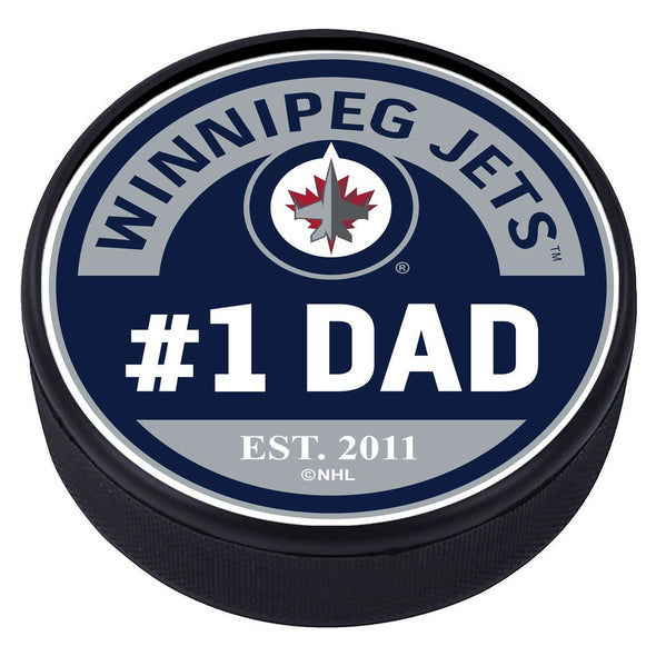 Winnipeg Jets #1 Dad Textured Puck