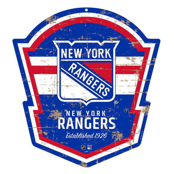 "New York Rangers 22"" PVC Distressed Shield"