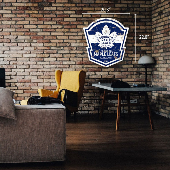 "Toronto Maple Leafs 22"" PVC Distressed Shield"