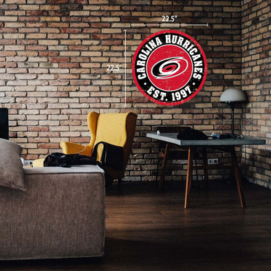 "Carolina Hurricanes 22"" Round PVC Distressed Logo Wall Sign"
