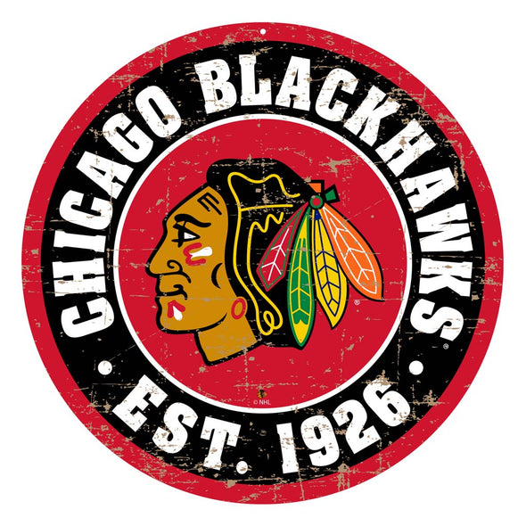 "Chicago Blackhawks 22"" Round PVC Distressed Logo Wall Sign"